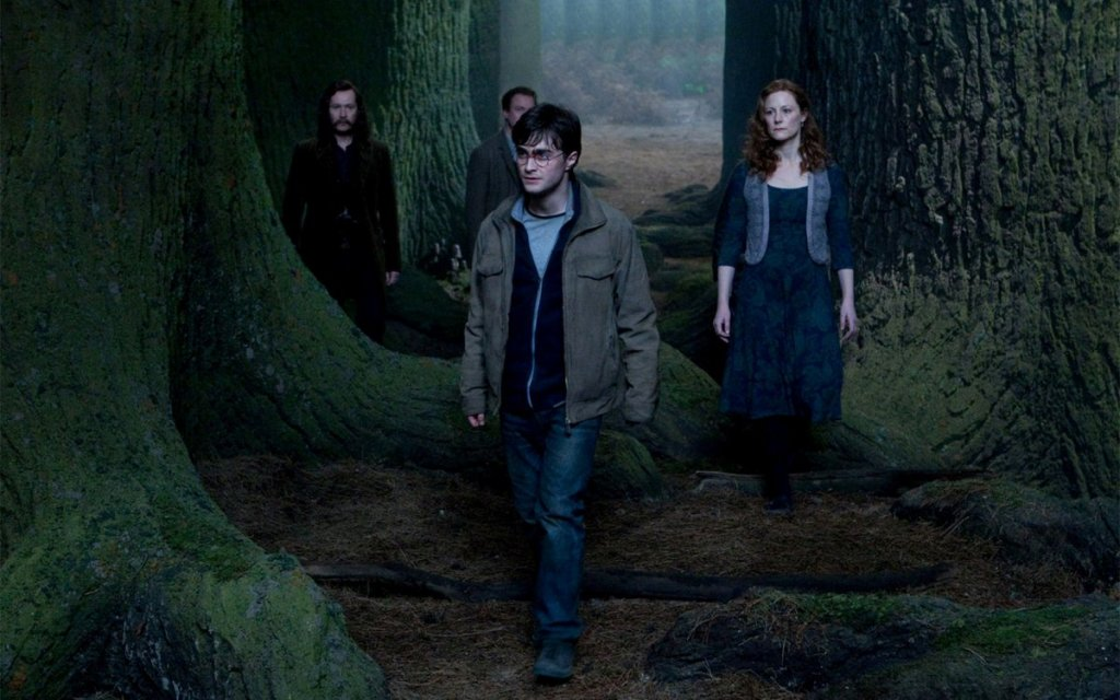 Harry's parents and their friends walk with him to his death.