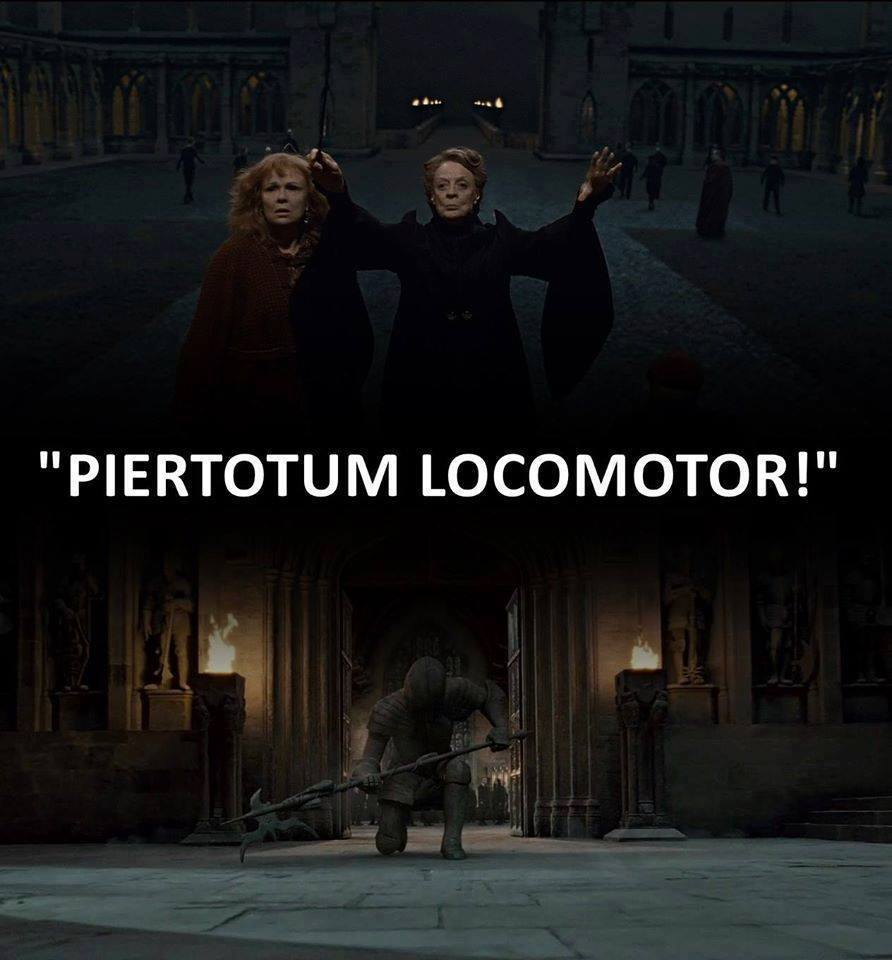 McGonagall animates the armour suits.